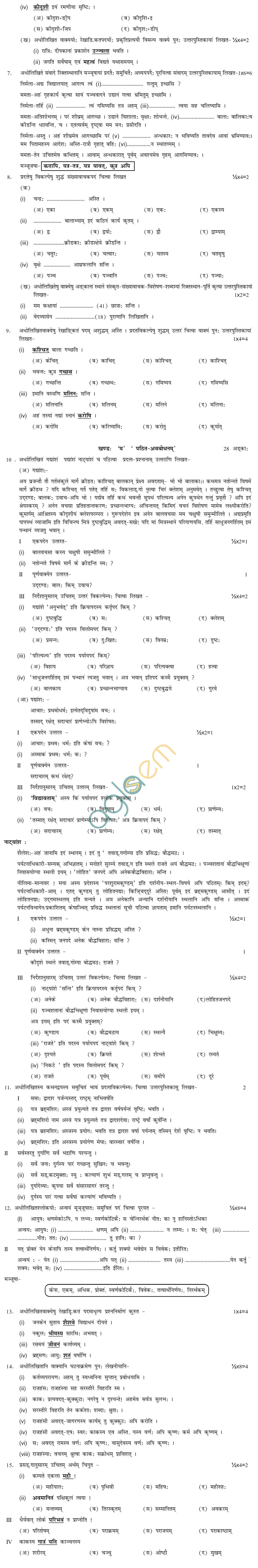 CBSE Board Exam 2013 Sample Papers (SA2) Class X - Sanskrit