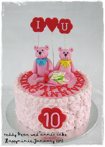 PInk Tedy  wed anniv cake