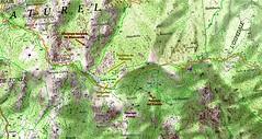 Carte IGN du secteur des bergeries de Luviu et de ses alentours avec les chemins et éléments du patrimoine des Plan Terrier et Cadastre Napoléonien