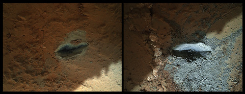 CURIOSITY sol 176 MAHLI drill on rock checkout  - percussion