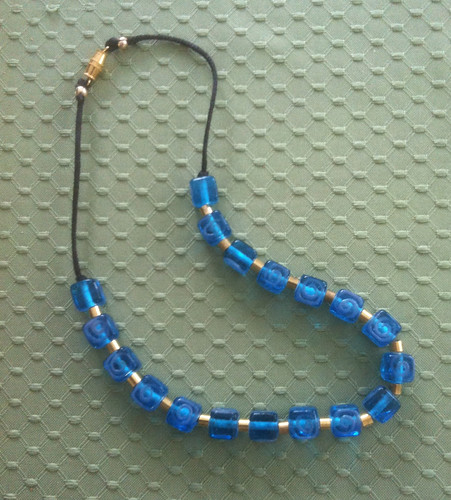 Necklace with Brass and Blue Irish Glass Beads (Revised) by randubnick