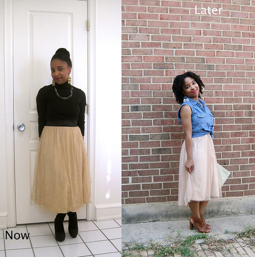 Blush skirt now and later