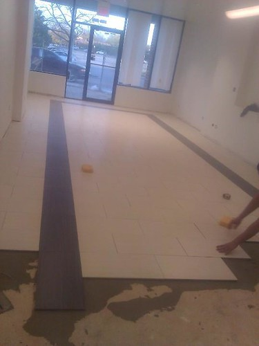 Commercial porcelain tile at a car dealership
