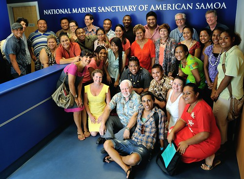 Delegates and Speakers visiting the National Marine Sanctuary of American Samoa.