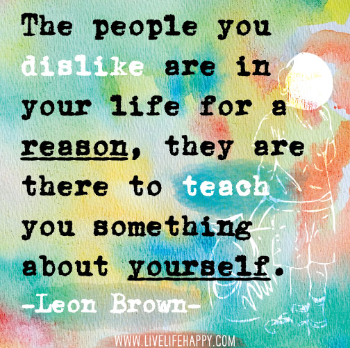 The people you dislike are in your life for a reason, they are there to teach you something about yourself. -Leon Brown