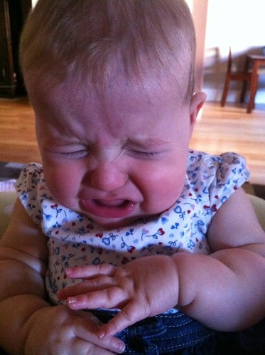 Dakota Bear Crying. She was not happy.