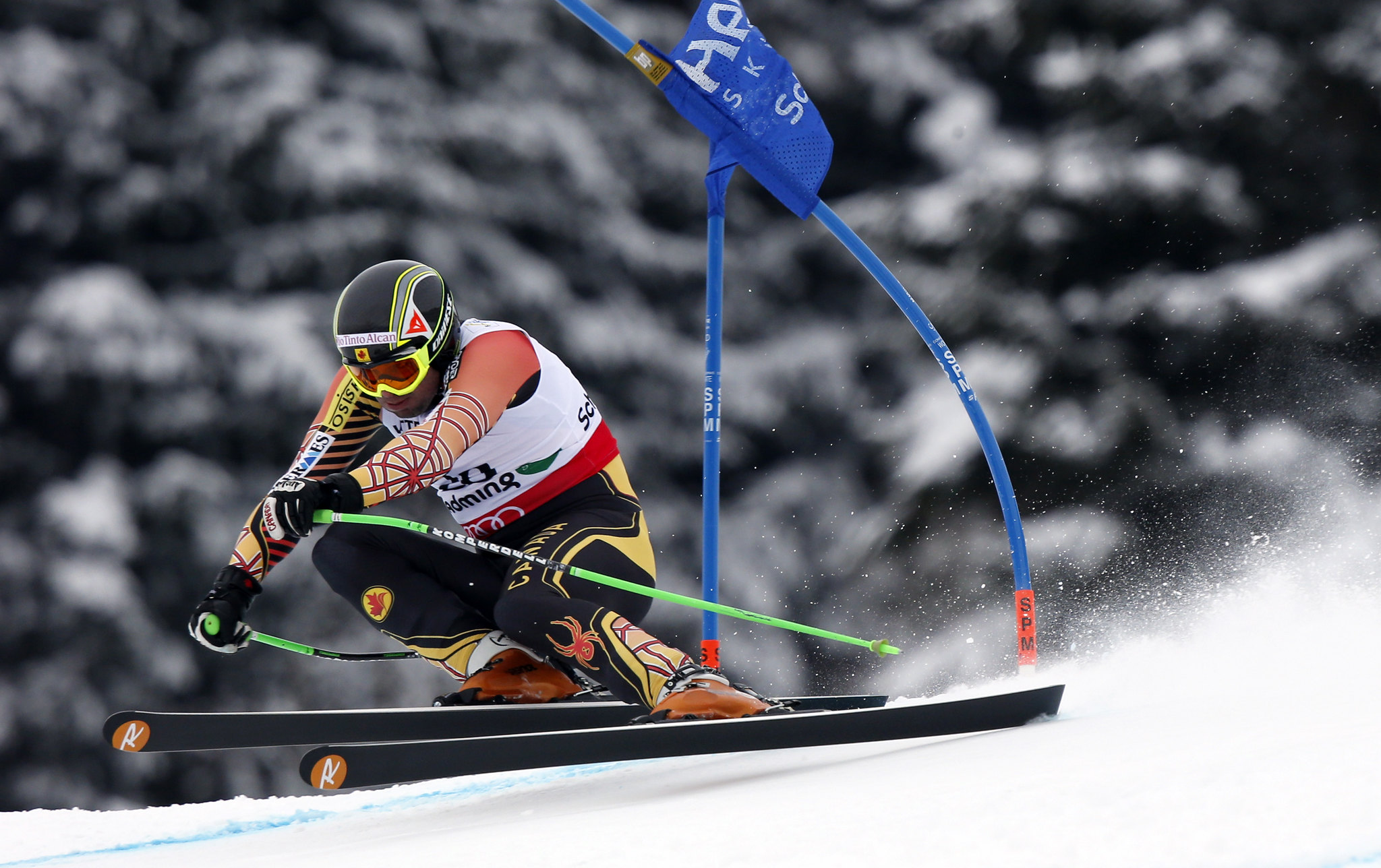 Manuel Osborne-Paradis looks ahead to the next gate in the men's super-G at world championships in Schladming, Austria.