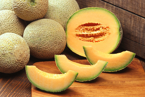 Cantaloupes are a refreshing treat that is always a hit during the summer. When purchasing a cantaloupe, make sure that its rind is light green or turning yellow. Most cantaloupes will need to be kept in the refrigerator before eating. USDA Photo courtesy of Scott Bauer.