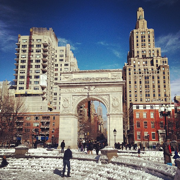 Snowball fights in Washington Square Park #Nemo