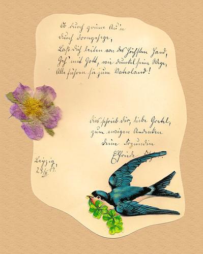 Poesiealbum Sütterlinschrift Erinnerung Ob durch grüne Auen