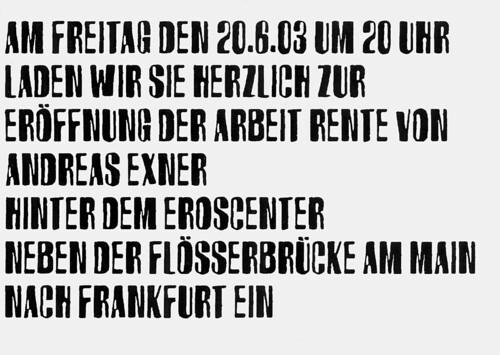 Postkarte Einladung Andreas Exner Rente. Juni 2003