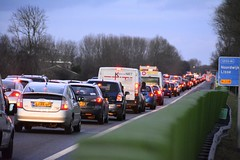 Traffic jam on the A44 motorway