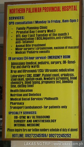 List of services of Northern Palawan Provincial Hospital in Taytay, Palawan