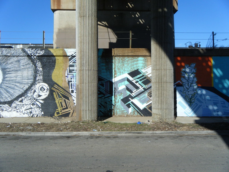 "Murals under the ""L"" bridge"