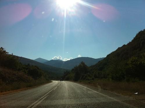 road mountains spring bansko