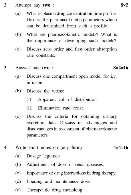 UPTU B.Pharm Question Papers PH-362 - Biopharmaceutics & P'Kinetics (Pharmaceutics-VIII)