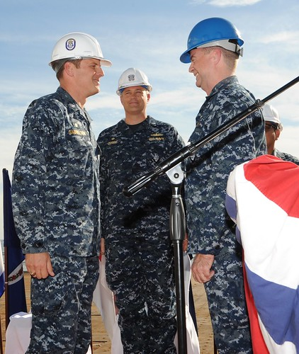 USS Cape Saint George (CG 71) performs a change-of-command ceremony