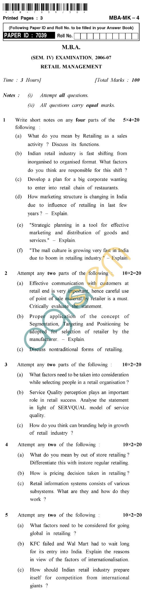 UPTU M.B.A. Question Papers - MBA-MK-04-Retail Management