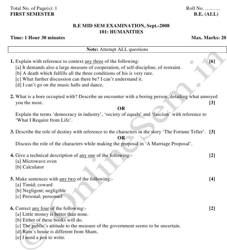 NSIT Question Papers 2008 – 1 Semester - Mid Sem - All Branches-101