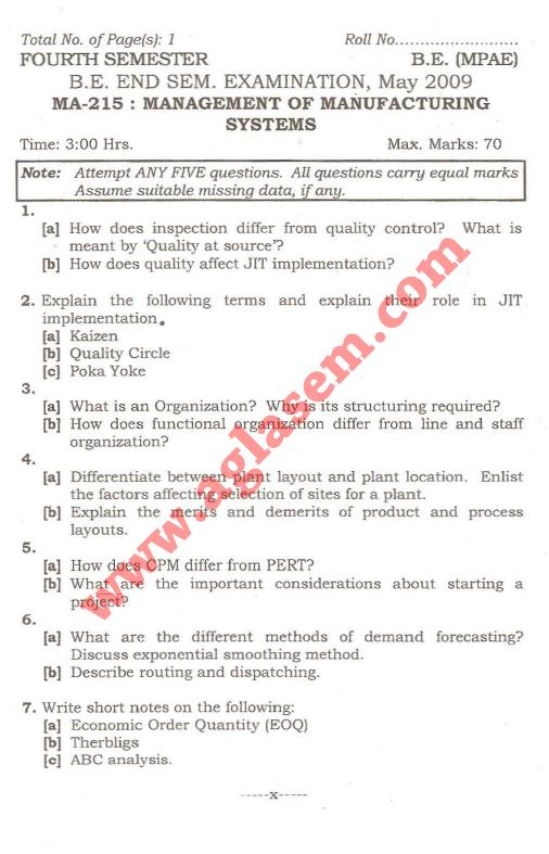 NSIT: Question Papers 2009 – 4 Semester - End Sem - MA-215
