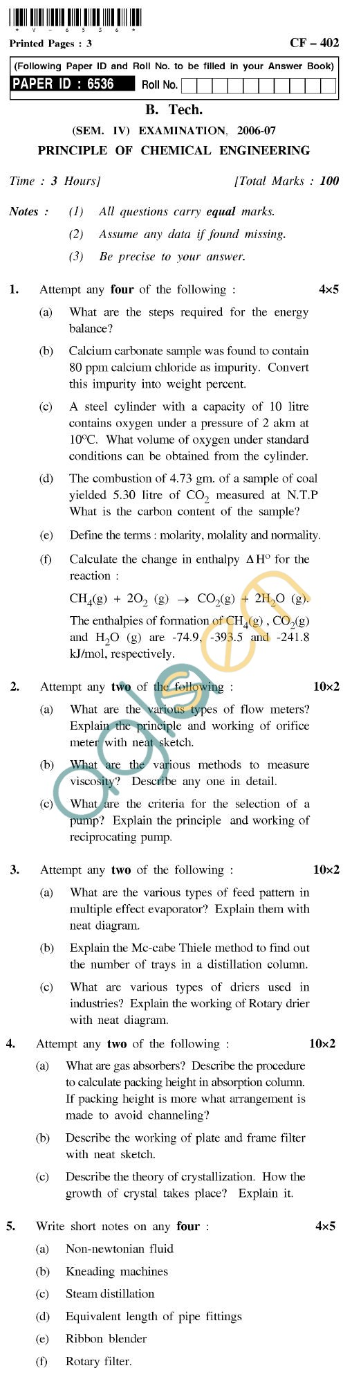 UPTU B.Tech Question Papers - CF-402 - Principle of Chemical Engineering