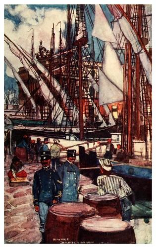 019-Puerto mercantil en Napoles-Naples  past and present-1905-Maurice Grieffenhagen