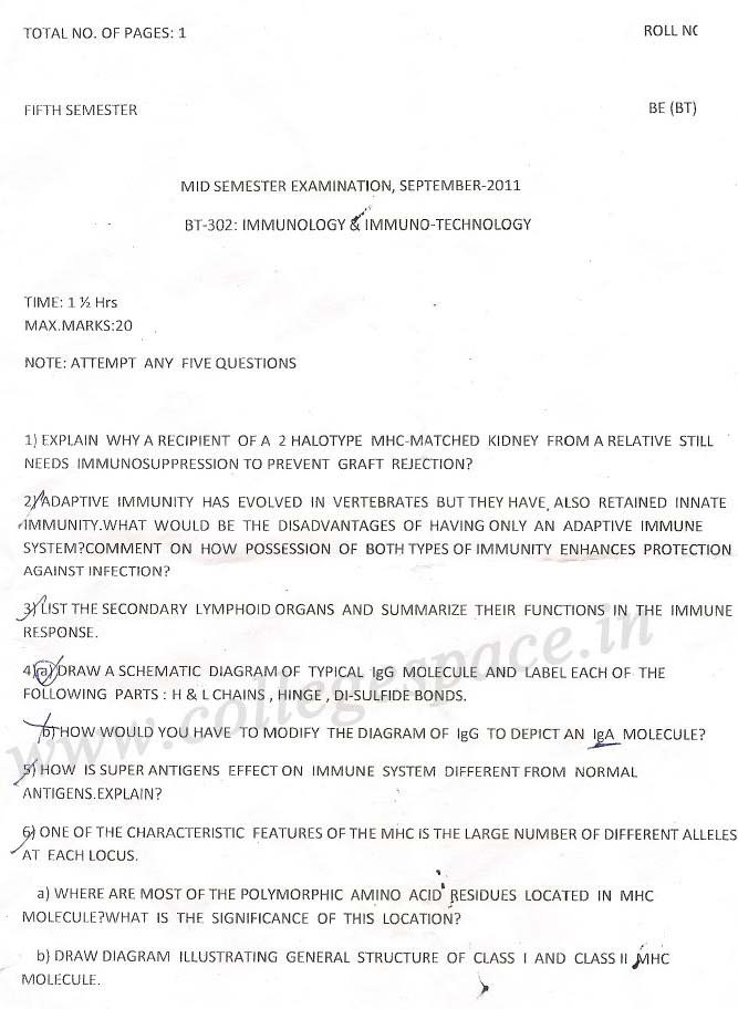 NSIT Question Papers 2011 – 5 Semester - Mid Sem - BT-302