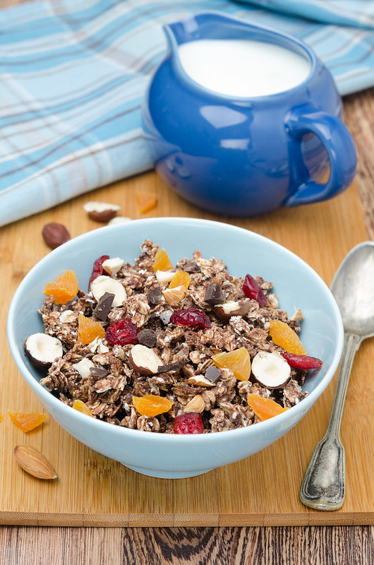 Chocolate granola with nuts and dried fruit