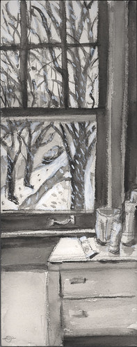 winter stilllife window insideoutside urbanlandscape cedarfallsiowa hbpencil coldpresswatercolorpaper whiteacrylicink watersolublegraphitestick marciamilnerbrage