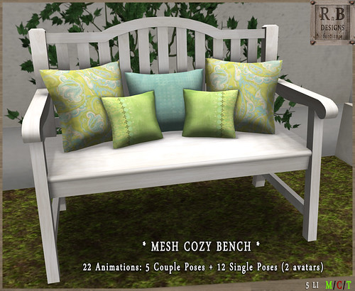 NEW ! *RnB* Mesh Cozy Bench 1-1 - Couple & Singles (2 avs)