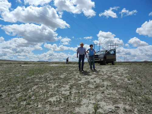 Dennis Sun on Sun Ranch, west of Casper, Wyo., with NRCS intern Meghan McPhaden. Photo credit: Haley Lockwood/NRCS