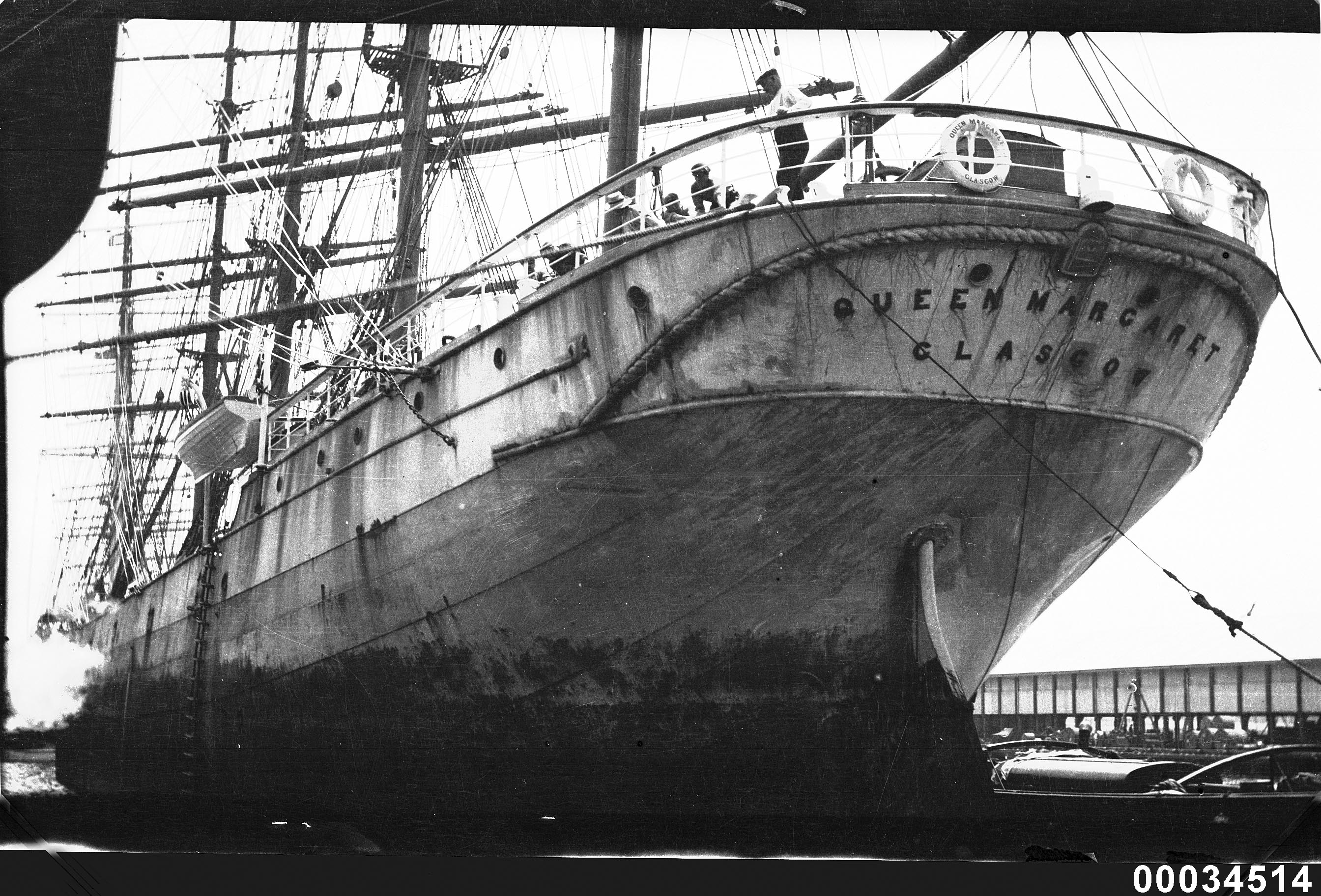 Four-masted barque QUEEN MARGARET at a wharf