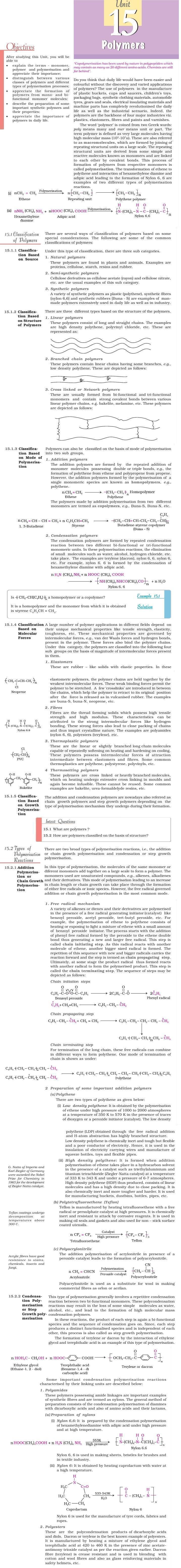 NCERT Class XII Chemistry: Chapter 15 – Polymers – AglaSem