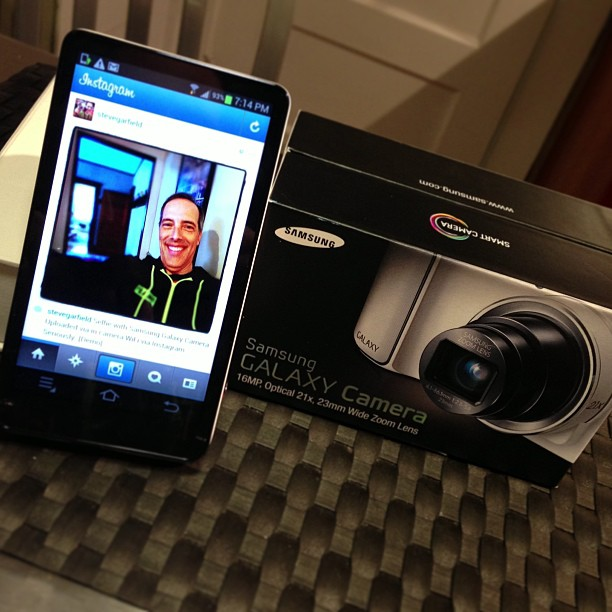 Looking at Instagram on the Samsung Galaxy Camera. What? Yes. Beautiful screen. [Demo]