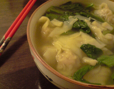 Wontons and Choy Sum in Soup