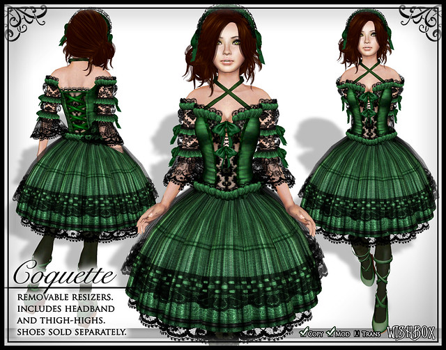 Coquette (Green) Gothic Lolita Dress in Second Life