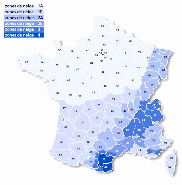 carte des surcharges climatiques de neige en vigueur en France météopassion