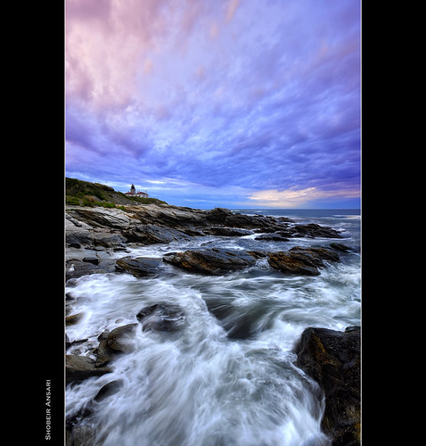 ocean longexposure ri morning lighthouse seascape nature colors sunrise landscape ancient rocks wave nopeople atlantic rhodeisland beavertail jamestown attraction beavertaillighthouse shobeiransari