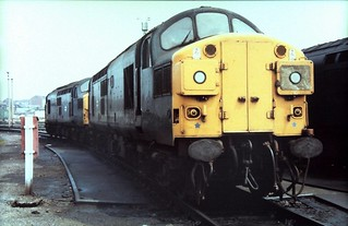 83-406  Stratford Open Day:  a pair of 'rail-blue' Class 37s stabled in the sidings