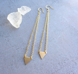 gold triangle geometric long earrings