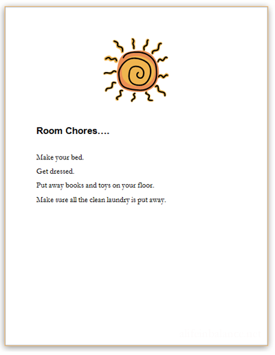 Room Chore Reminder List