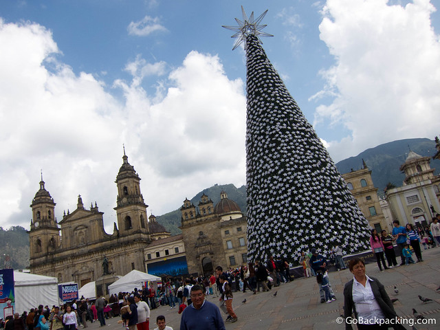 Bogota's Bolivar Plaza in December