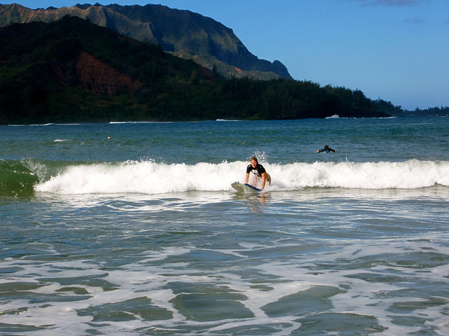 Caroline eaton learning to surf in hawaii