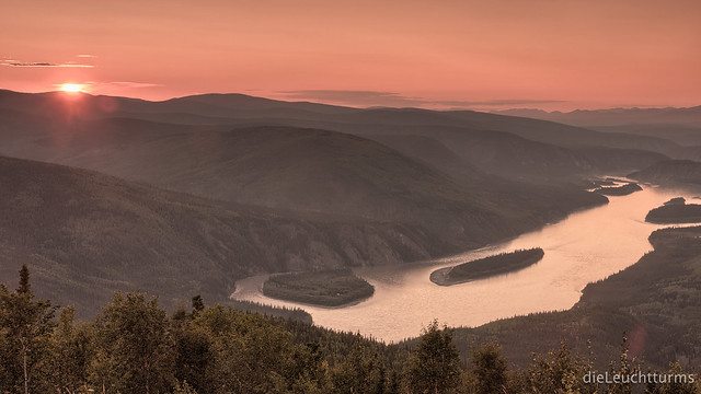 Sunset above Yukon river