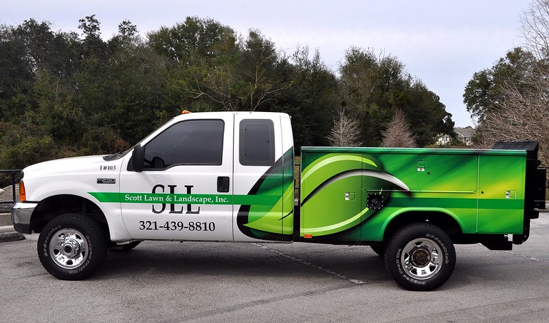 Ford landscaping truck wrap