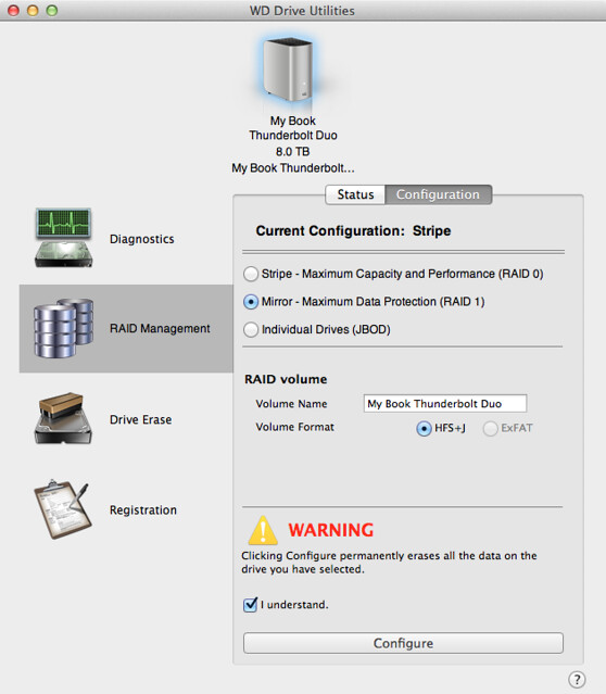 WD Driver Utilities - Change To RAID 1