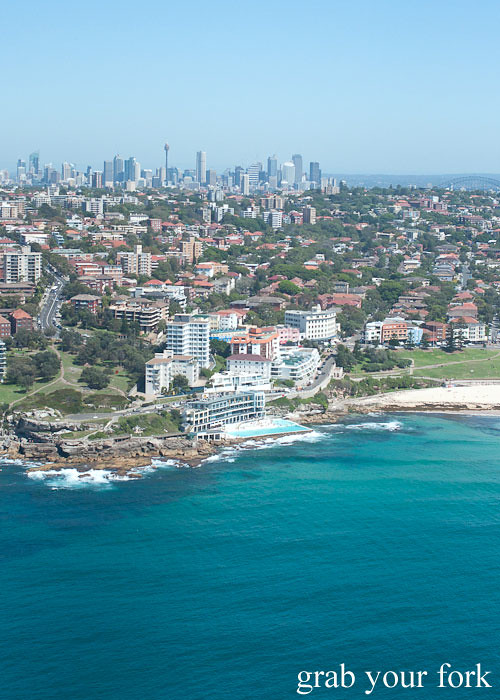 Bondi Helicopter flight aerial view over Bondi Icebergs, Sydney