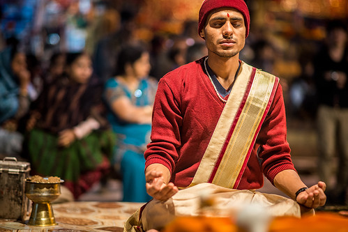 Meditation before the Ganga Aarti