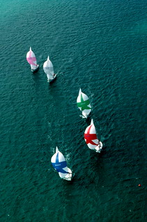 "Aerial view of ""Sunfish"" sailboats: Key West, Florida"