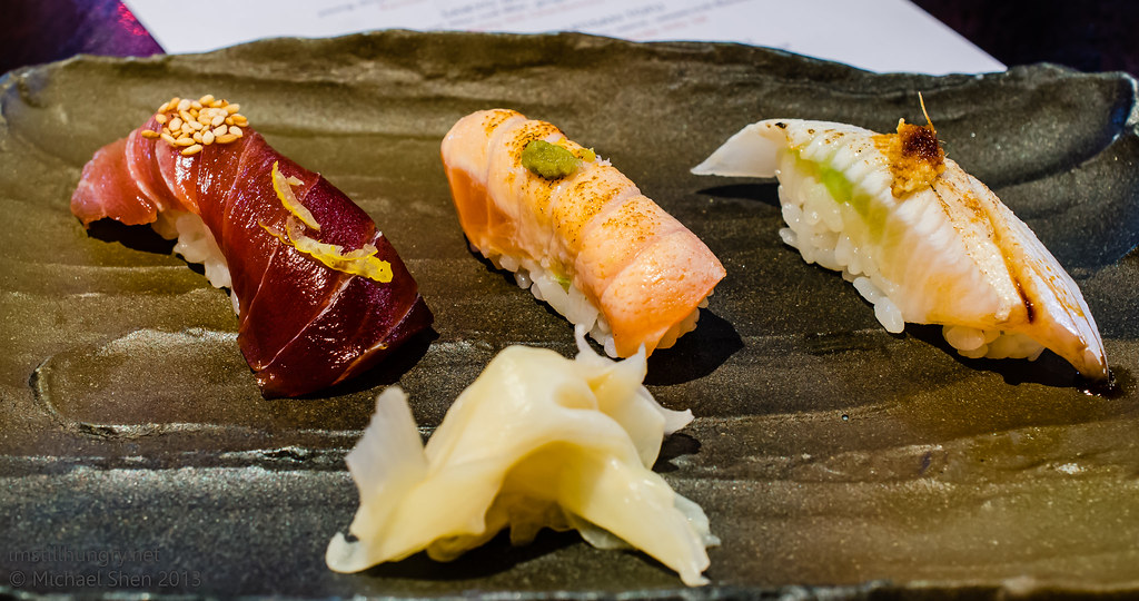 Ocean Room Edo-Mae nigiri sushi - three authentic Tokyo style nigiri sushi, chef's daily recommendation - kingfish aburi, ocean trout, bluefin tuna